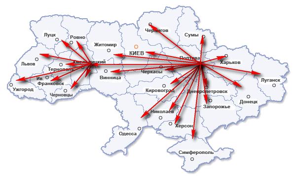 Карта доставки мебели по регионам Украины
